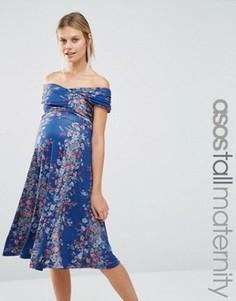 Платье миди для беременных с открытыми плечами ASOS Maternity TALL - Мульти