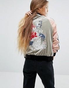 Бархатная куртка‑пилот с вышивкой Glamorous - Синий