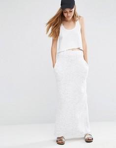 Прямая трикотажная юбка макси ASOS - Кремовый