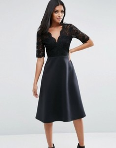 Приталенное платье миди с кружевным верхом ASOS - Черный