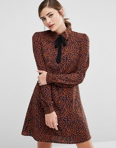 Платье-рубашка со звериным принтом и ленточной завязкой у горловины Fashion Union - Мульти