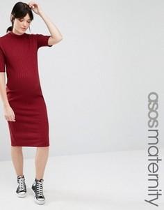 Облегающее платье миди для беременных в рубчик ASOS Maternity - Красный