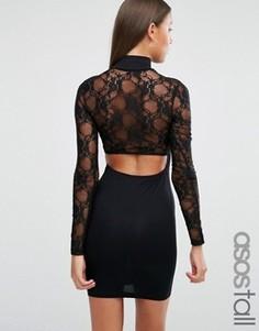 Платье мини с вырезом сзади и длинными кружевными рукавами ASOS TALL - Черный