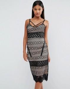 Платье миди с кружевными вставками Boohoo - Черный