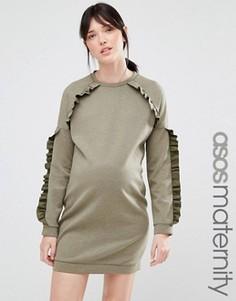Платье-футболка для беременных с рюшами ASOS Maternity - Зеленый