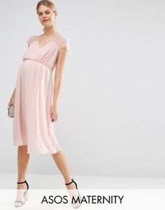 Кружевное платье миди ASOS Maternity Kate - Розовый
