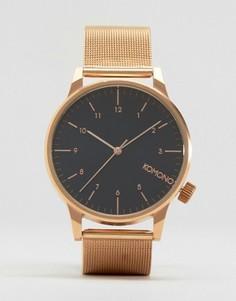 Розово-золотистые часы с черным циферблатом Komono Winston Royale - Золотой