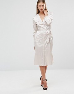 Платье-рубашка миди Missguided - Бежевый