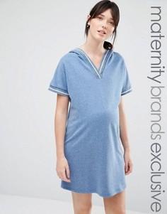 Трикотажное платье для дома с капюшоном и отделкой Bluebelle Maternity - Синий
