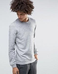 Меланжевый свитшот с круглым вырезом Minimum Fedel - Серый