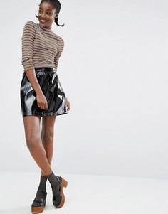 Лакированная юбка Monki - Черный