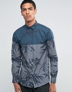 Рубашка со вставкой и принтом листьев Selected Homme - Темно-синий