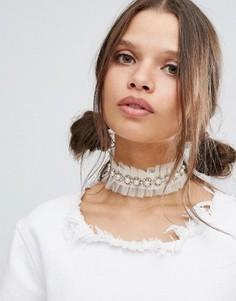 Ожерелье-чокер с кружевом и жемчугом Suzywan - Кремовый