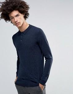 Трикотажное поло из мериносовой шерсти с длинными рукавами Minimum Jaylen - Темно-синий
