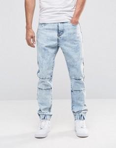 Рваные выбеленные джинсы слим с заниженным шаговым швом Liquor & Poker - Синий