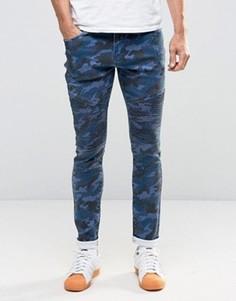 Камуфляжные джинсы скинни в байкерском стиле Liquor & Poker - Темно-синий