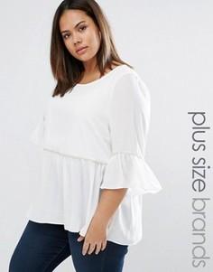 Блузка с оборкой по краю Junarose Mana - Белый