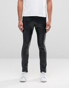 Байкерские джинсы из искусственной кожи Liquor & Poker - Черный