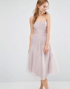 Платье-бандо миди с плиссированной кружевной отделкой Little Mistress - Бежевый