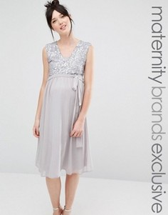 Платье миди без рукавов с кружевным топом и пайетками Queen Bee - Серый