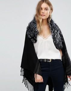Темно-серое пальто в полоску с меховой отделкой Jayley - Серый