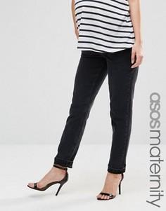 Черные джинсы для беременных в винтажном стиле с посадкой под животом ASOS Maternity Farleigh - Черный