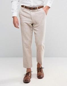Твидовые укороченные брюки слим ASOS - Розовый