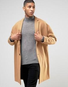Бежевое шерстяное пальто с заниженной линией плеч ASOS - Рыжий