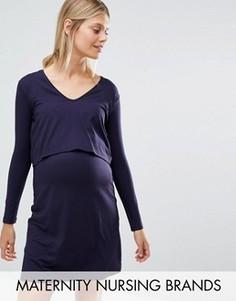 Платье миди со вставкой для кормления Isabella Oliver - Темно-синий