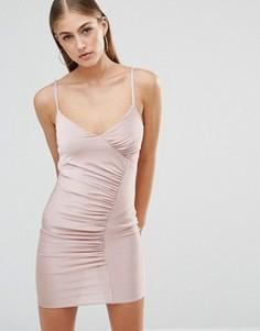 Облегающее платье миди на плетеных бретельках со сборками Missguided - Фиолетовый