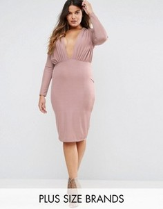 Облегающее платье миди с глубоким вырезом Missguided Plus - Фиолетовый