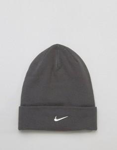 Серая шапка-бини с логотипом Nike 803734-021 - Серый