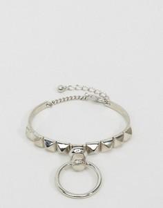 Браслет с заклепками и кольцом ASOS - Серебряный