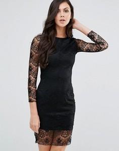 Облегающее кружевное платье с длинными рукавами Lipstick Boutique - Черный