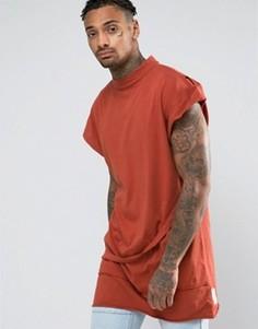 Oversize-футболка без рукавов с высокой горловиной Granted - Оранжевый