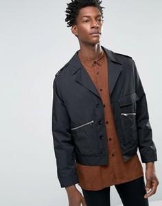 Черная атласная байкерская куртка в строгом стиле ASOS - Черный