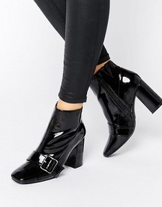 Полусапожки на каблуке с ремешком и пряжкой Office Archie - Черный