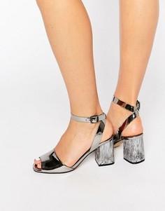 Серебристые сандалии на каблуке с зеркальным эффектом Office Melody - Серебряный