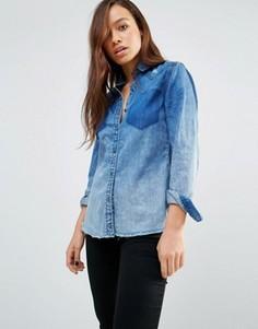 Джинсовая рубашка с необработанным краем и потертостями Blank NYC - Синий