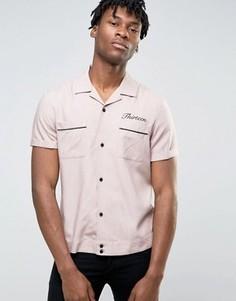 Вискозная рубашка классического кроя с вышивкой 13 сзади ASOS - Розовый