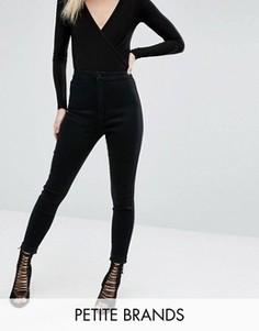 Эластичные джинсы скинни с завышенной талией Missguided Petite Vice - Черный