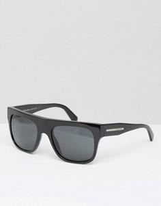Черные солнцезащитные очки с плоским верхом Giorgio Armani - Черный