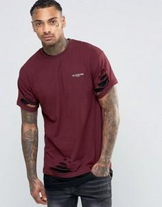 Двухслойная удлиненная футболка с рваной отделкой Illusive London - Красный