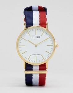 Часы с белым циферблатом и полосатым парусиновым ремешком Reclaimed Vintage - Мульти