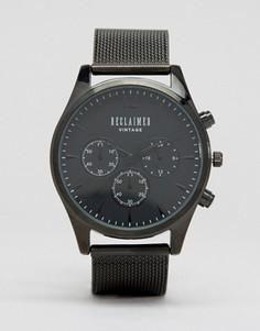 Черные часы-хронограф с сетчатым браслетом Reclaimed Vintage - Черный