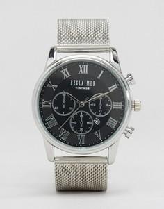 Серебристые часы-хронограф с сетчатым браслетом Reclaimed Vintage - Серебряный