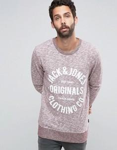 Меланжевый свитшот с принтом Jack & Jones Originals - Красный