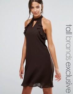 Цельнокройное платье с оборками на рукавах True Decadence Tall - Коричневый