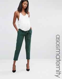 Тканые брюки‑галифе для беременных с поясом‑оби ASOS Maternity - Зеленый