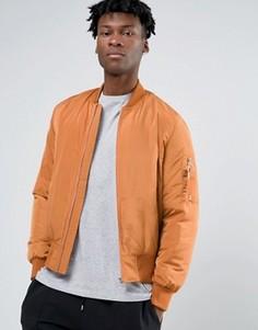 Оранжевая куртка‑пилот с карманом в стиле MA1 и контрастной подкладкой ASOS - Оранжевый